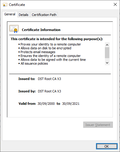Let's Encrypt root certificate expiration warning: Update before Sep 30